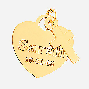 ENGRAVED HEART WITH CROSS