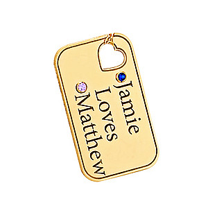 CUT OUT HEART ENGRAVED DOG TAG
