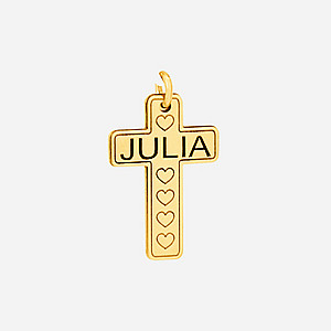 ENGRAVED NAME AND HEART CROSS