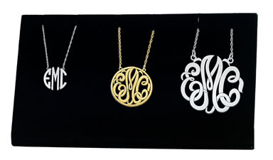 3 piece Monogram sample kit that displays 3 popular pendant styles in 3 different sizes.