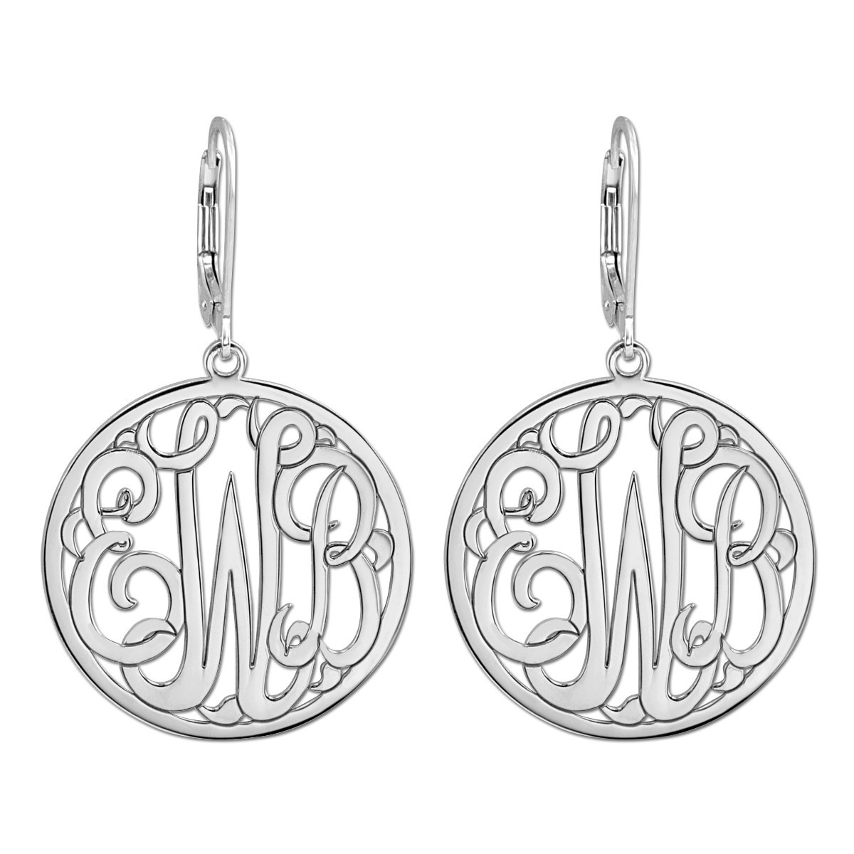 25MM MONOGRAM LEVER BACK EARRING