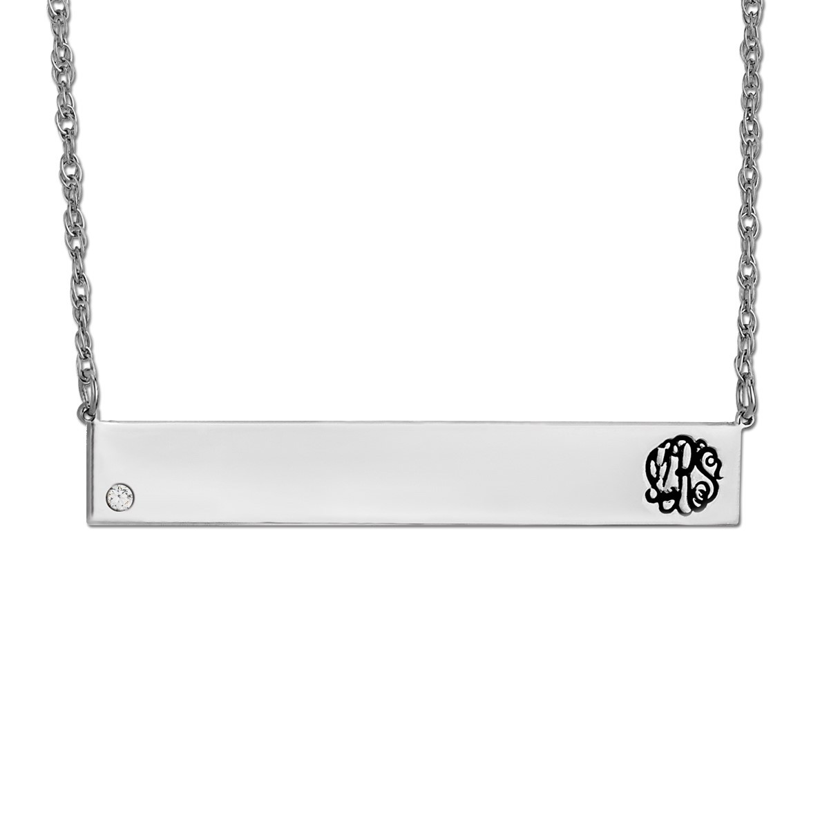 40mm X 7mm BAR PENDANT W/ DIA-LEFT