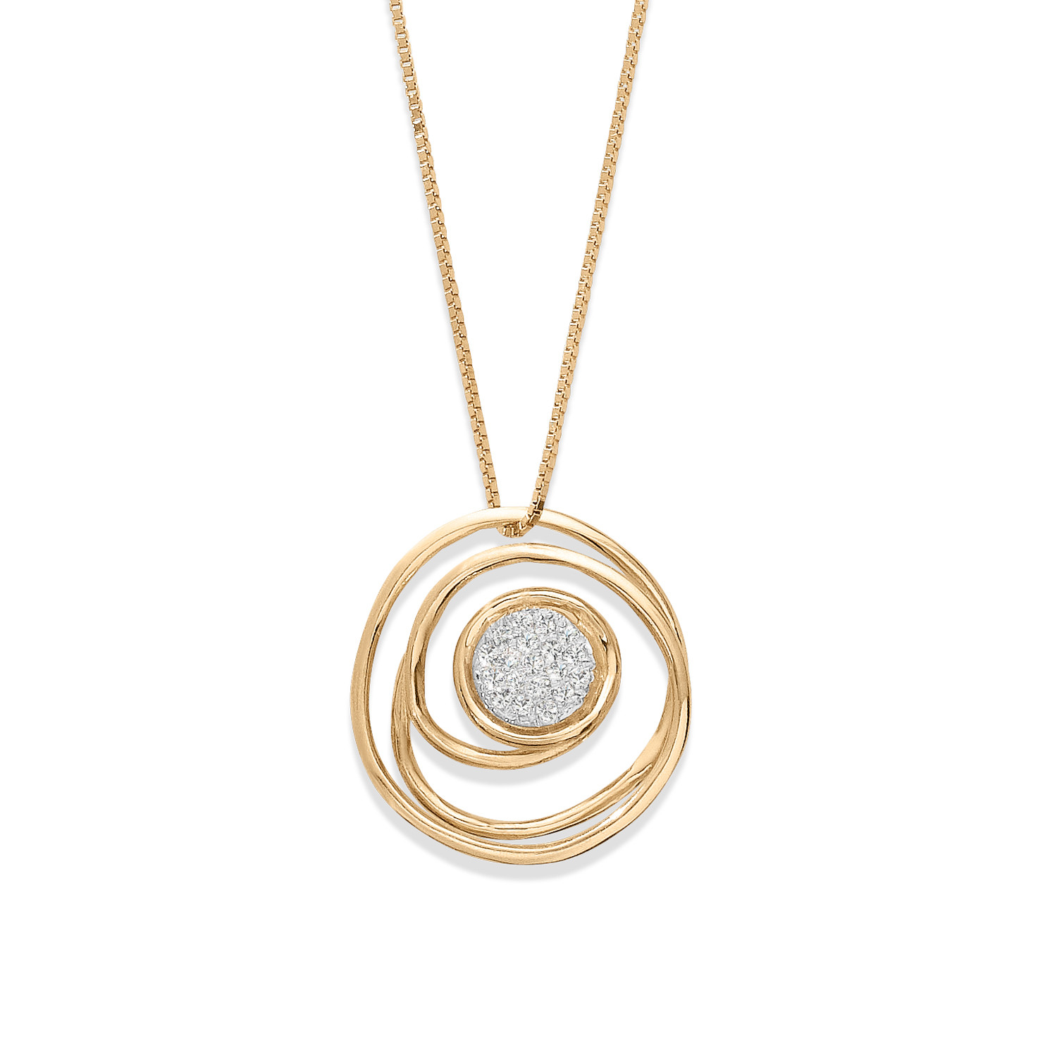 14K DOUBLE CIRCLE CLUSTER NECKLACE