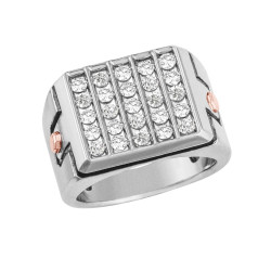 GENTS TWO TONE CLUSTER DIAMOND BAND