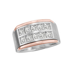 GENTS TWO TONE 10 STONE DIA BAND
