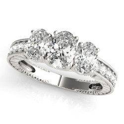 ENGAGEMENT RINGS 3 STONE OVAL