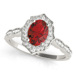 SCALLOPED OVAL HALO RING
