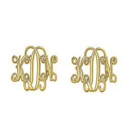 20MM POST & CLUTCH MONOGRAM EARRING