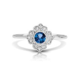 14K W SAPPHIRE & DIAMOND FASHION RING;DIAMOND=1/20 CTTW;BLUE SAPPHIRE=1/4 CTTW