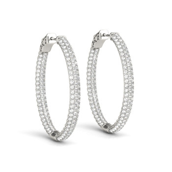 1.5 INCH 3 ROW PAVE OVAL HOOP