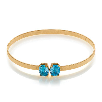 14K YELLOW BANGLE; DIAMOND = 1/15 CTTW