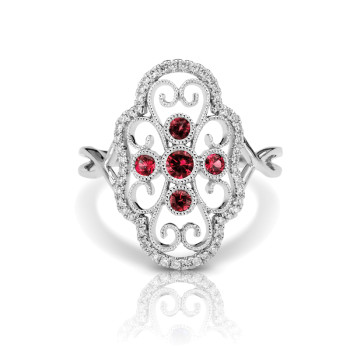 14KW RUBY FASHION RING;DIAMOND=1/6 CTTW; RUBY=1/5 CTTW