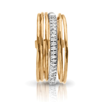 14KY STACK RINGS WITH 1 ROW OF DIAMOND;DIAMOND=1/8 CTTW