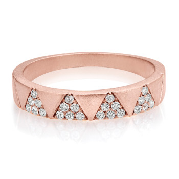 14K ROSE DIAMOND FASHION BAND;DIAMOND=1/5 CTTW
