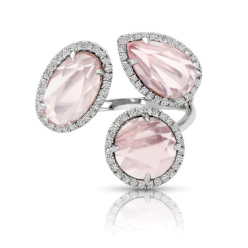 14K PINK QUARTZ & DIAMOND RING;DIAMOND=1/3 CTTW;PINK QUARTZ RD=1 3/8 CTTW;PINK QUARTZ PS=1 3/8 CTTW;