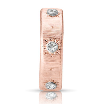 18K WHITE & PINK RING;DIAMOND=1/10 CTTW
