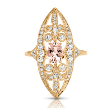 14KW MORGANITE DIAMOND RING;DIAMOND=1/2 CTTW;MORGANITE=5/8 CTTW