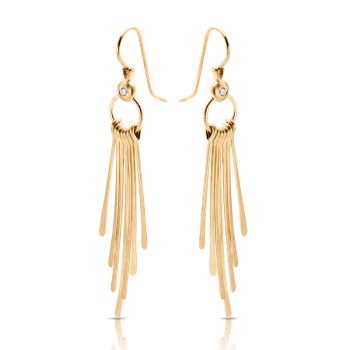 14K Y HANGING STICKS DIAMOND EARRINGS;DIAMOND=1/20 CTTW