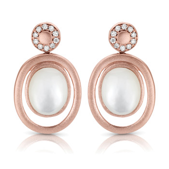 14K ROSE PEARL & DIAMOND EARRINGS;DIAMOND=1/8 CTTW