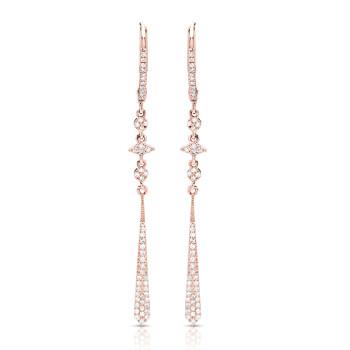 14K ROSE DIAMOND EARRINGS;DIAMOND=1/4 CTTW