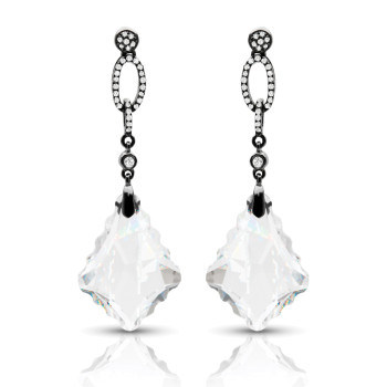 14K WHITE TOPAZ & DIAMOND EARRINGS;DIAMOND=1/6 CTTW