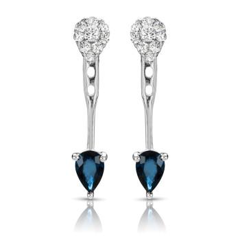 14KW SAPPHIRE DIAMOND EARRINGS;DIAMOND=1/3 CTTW;BLUE SAPPHIRE=1 CTTW