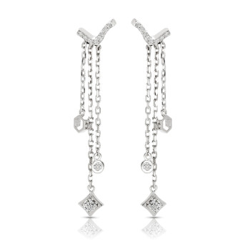 14K WHITE DANGLING EARRINGS;DIAMOND=1/4 CTTW