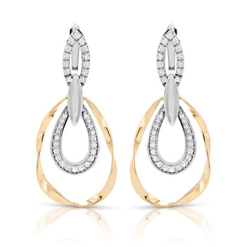 14K TWO TONE EARRINGS;DIAMOND=1/2 CTTW