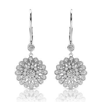 14K WHITE EARRINGS;DIAMOND=1 CTTW