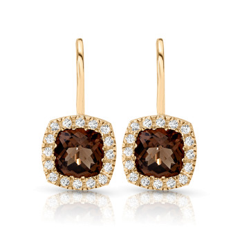 14K HALO SMOKY QUARTZ CTR EARRINGS