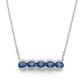 14KW SAPPHIRE & DIAMOND NECKLACE;DIAMOND=1/10 CTTW;BLUE SAPPHIRE=1 1/5 CTTW