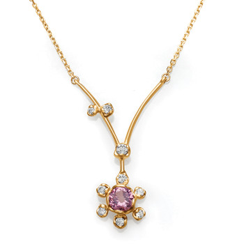 14KY GARNET & DIAMOND NECKLACE;DIAMOND=1/8 CTTW;PINK GARNET=1/3 CTTW