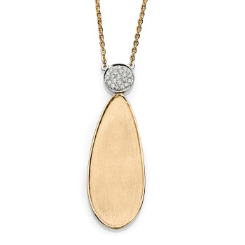 14K TWO TONE NECKLACE;DIAMOND=1/10 CTTW
