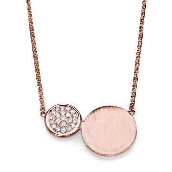 14K ROSE NECKLACE MATT FINISH;DIAMOND=1/10 CTTW