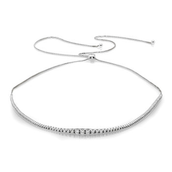 14K WHITE ADJUSTABLE NECKLACE;DIAMOND=2 1/3 CTTW