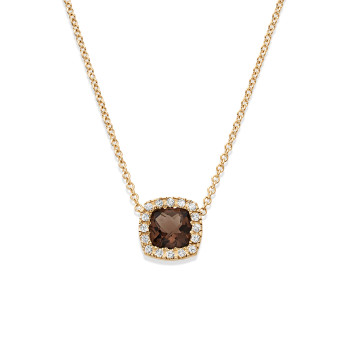 14K HALO SMOKY QUARTZ CTR NECKLACE