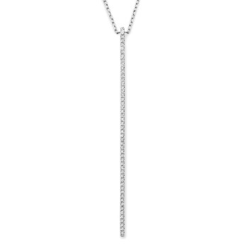 14K VERTICAL BAR DIAMOND NECKLACE